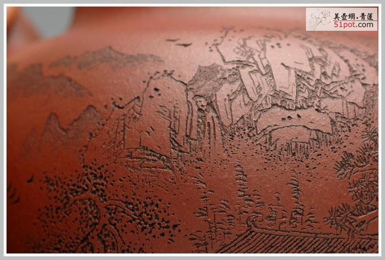 正面刻绘山水树林,文人斗诗,仔细看去,山涧仿佛也有瀑布,树木清奇